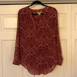 Lucky Brand Red Printed Tunic